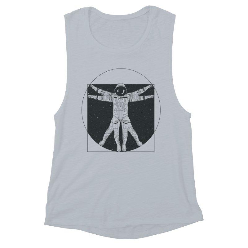 Vitruvian Spaceman (Dark Ink) Women's Muscle Tank by 84collective