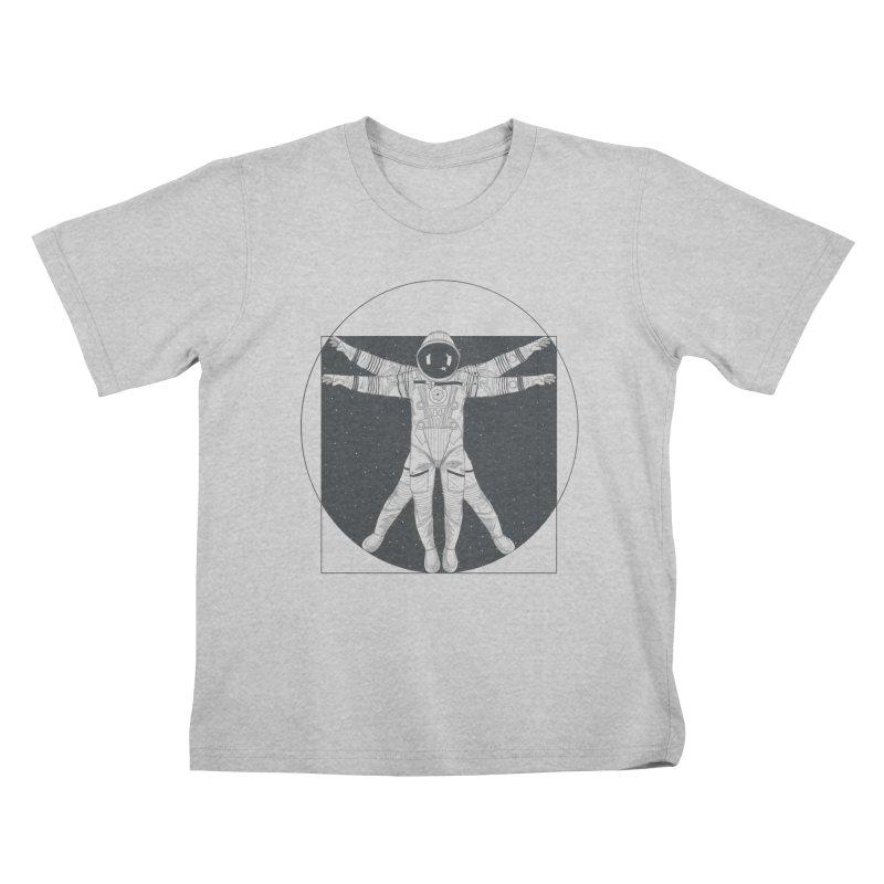 Vitruvian Spaceman (Dark Ink) Kids T-Shirt by 84collective