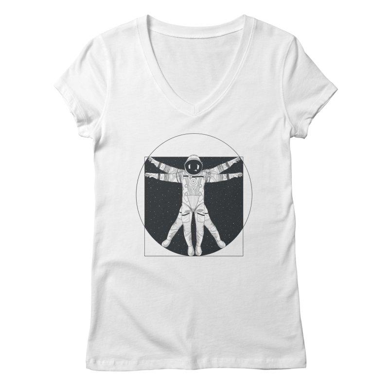 Vitruvian Spaceman (Dark Ink) Women's V-Neck by 84collective