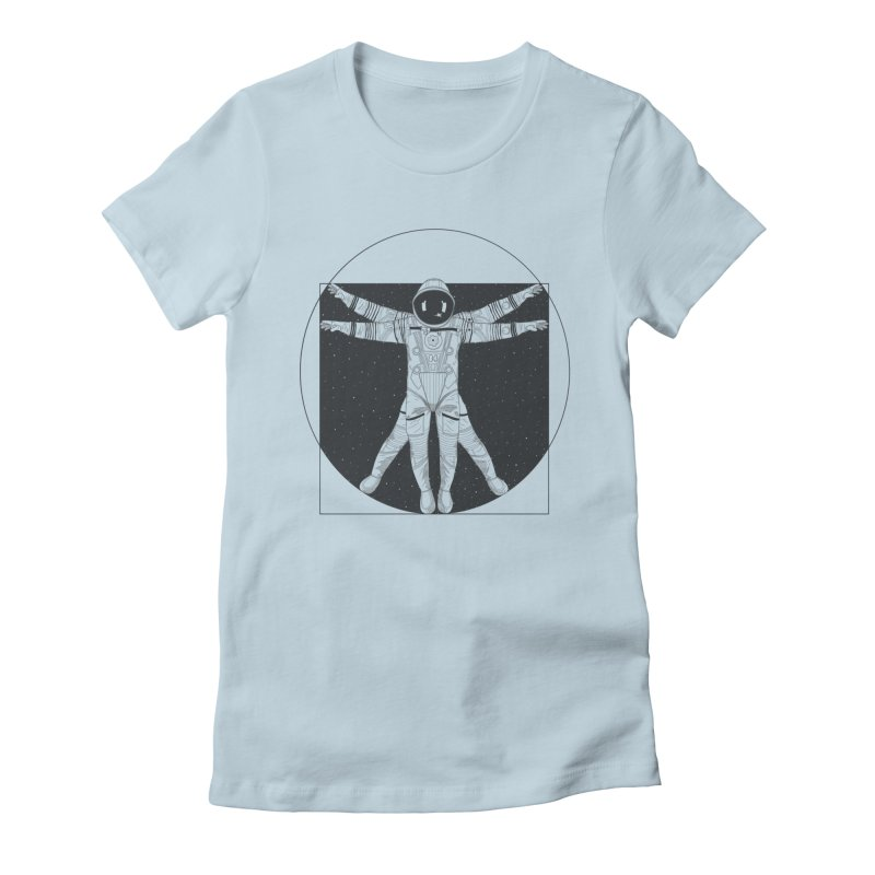 Vitruvian Spaceman (Dark Ink) Women's Fitted T-Shirt by 84collective