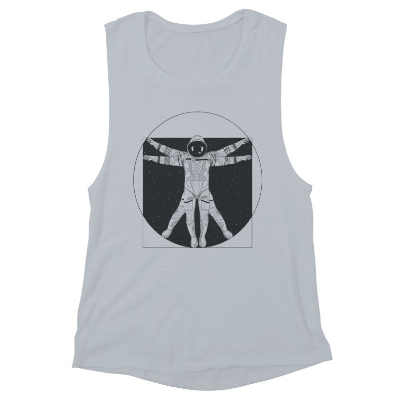 Vitruvian Spaceman (Dark Ink) Women's Muscle Tank by 84collective