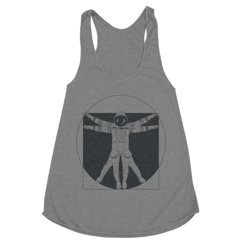 Vitruvian Spaceman (Dark Ink) Women's Racerback Triblend Tank by 84collective
