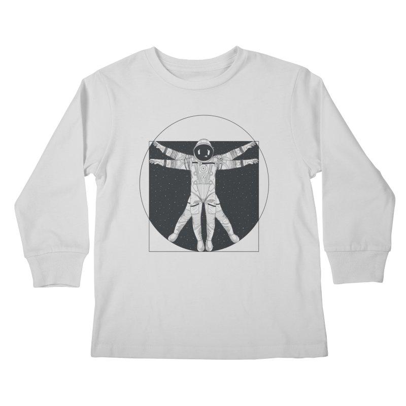 Vitruvian Spaceman (Dark Ink) Kids Longsleeve T-Shirt by 84collective