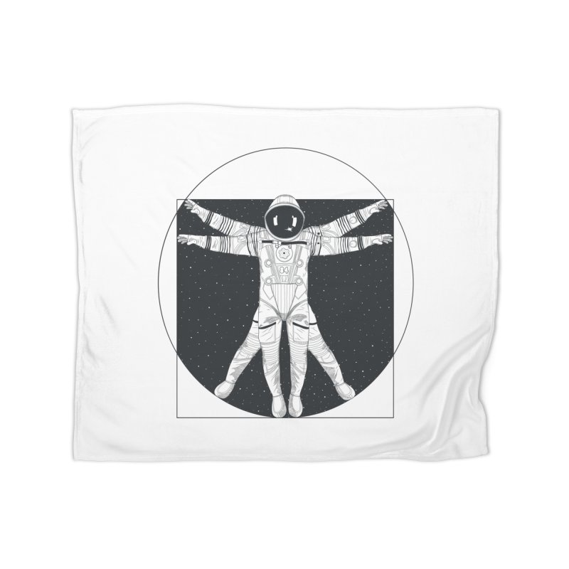 Vitruvian Spaceman (Dark Ink) Home Fleece Blanket Blanket by 84collective