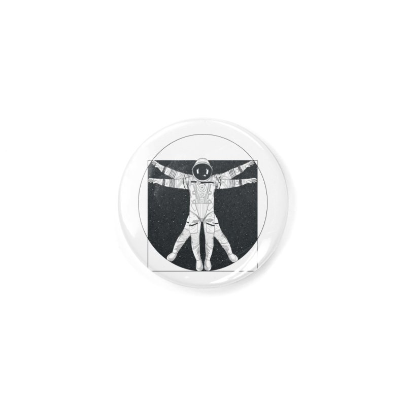Vitruvian Spaceman (Dark Ink) Accessories Button by 84collective