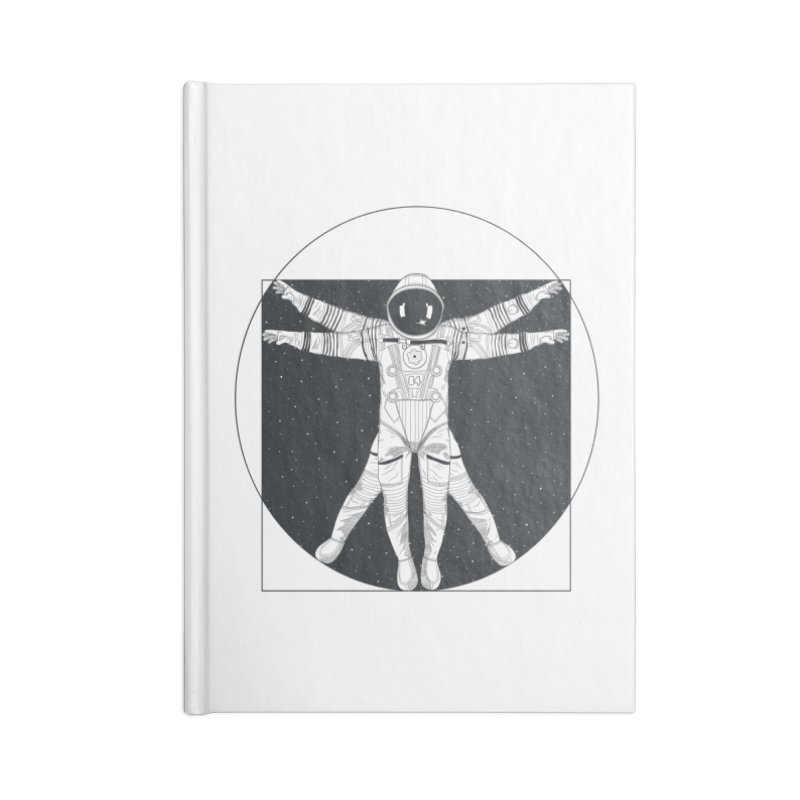 Vitruvian Spaceman (Dark Ink) Accessories Blank Journal Notebook by 84collective