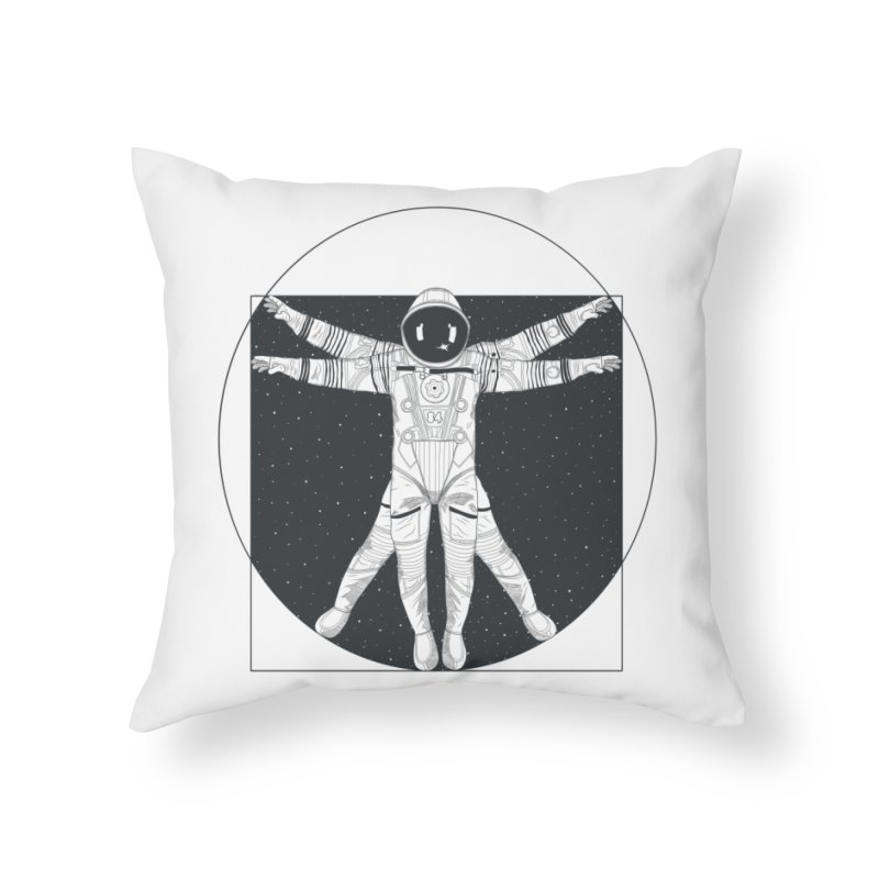 Vitruvian Spaceman (Dark Ink) Home Throw Pillow by 84collective
