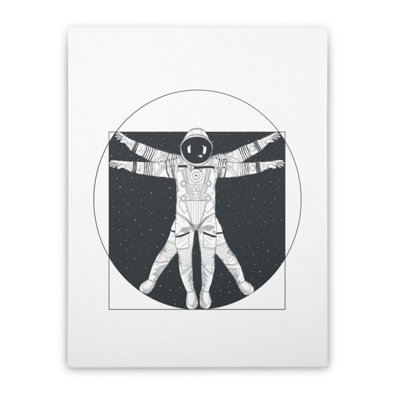 Vitruvian Spaceman (Dark Ink) Home Stretched Canvas by 84collective