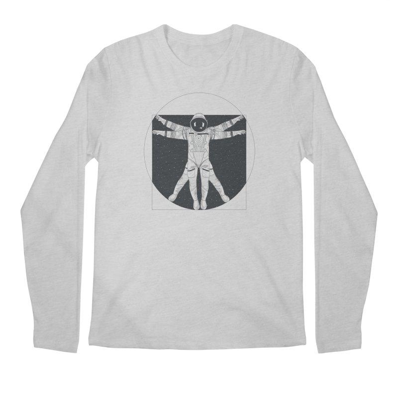 Vitruvian Spaceman (Dark Ink) Men's Longsleeve T-Shirt by 84collective