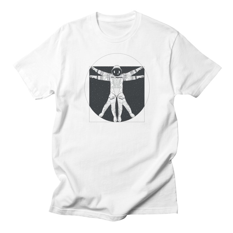 Vitruvian Spaceman (Dark Ink) in Men's Regular T-Shirt White by 84collective