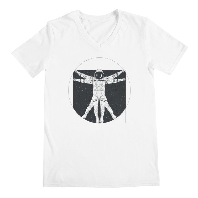 Vitruvian Spaceman (Dark Ink) Men's V-Neck by 84collective
