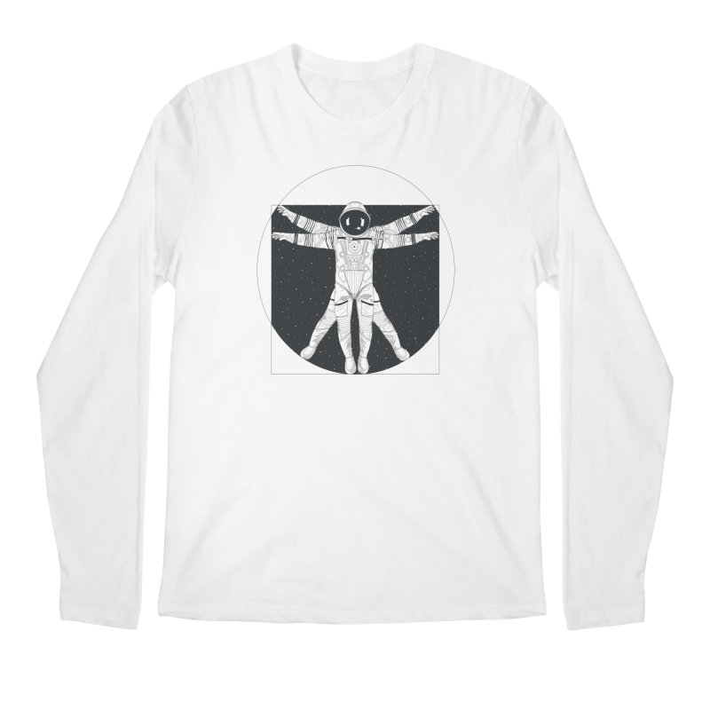 Vitruvian Spaceman (Dark Ink) Men's Regular Longsleeve T-Shirt by 84collective