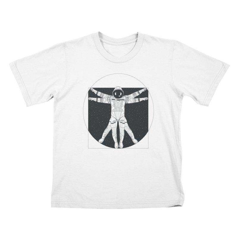 Vitruvian Spaceman (Dark Ink) in Kids T-Shirt White by 84collective