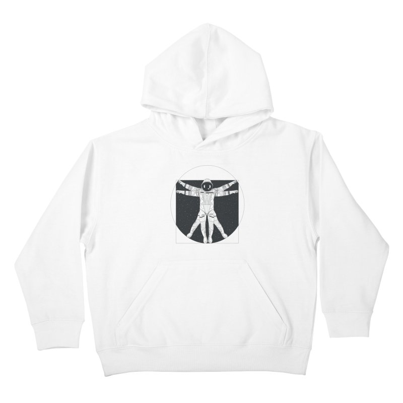 Vitruvian Spaceman (Dark Ink) Kids Pullover Hoody by 84collective