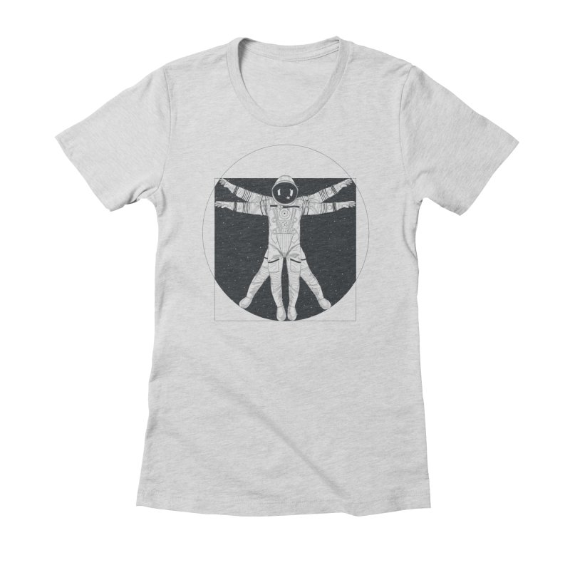 Vitruvian Spaceman (Dark Ink) in Women's Fitted T-Shirt Heather Grey by 84collective