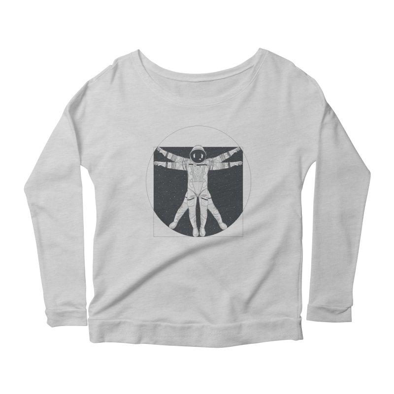 Vitruvian Spaceman (Dark Ink) Women's Scoop Neck Longsleeve T-Shirt by 84collective