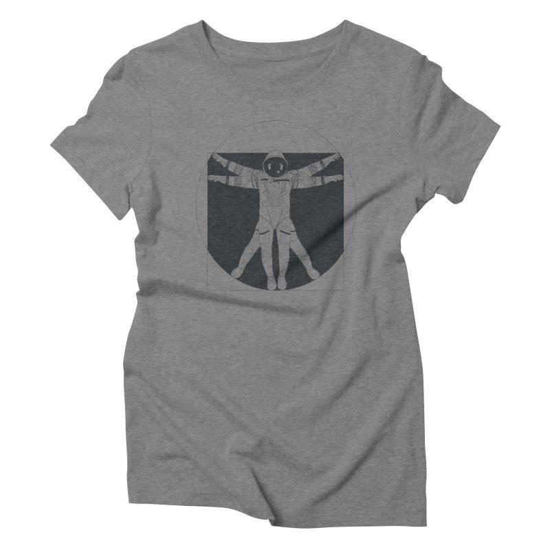 Vitruvian Spaceman (Dark Ink) Women's Triblend T-Shirt by 84collective