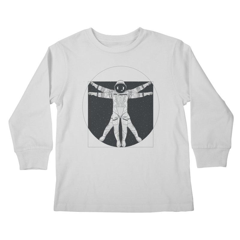 Vitruvian Spaceman (Dark Ink) Kids Longsleeve T-Shirt by 84collective