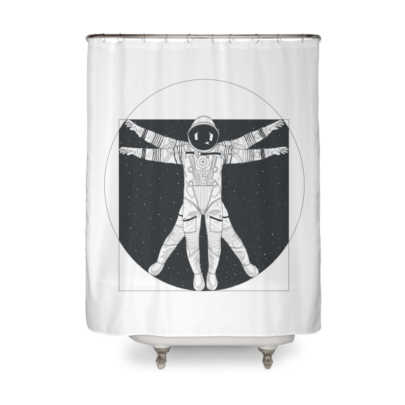 Vitruvian Spaceman (Dark Ink) Home Shower Curtain by 84collective