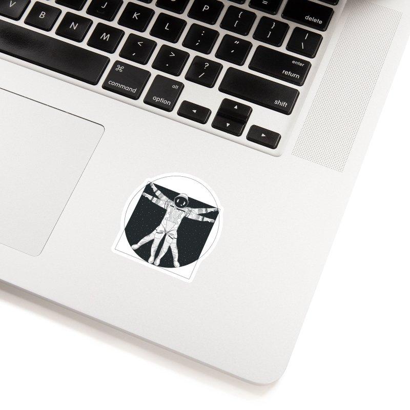 Vitruvian Spaceman (Dark Ink) Accessories Sticker by 84collective