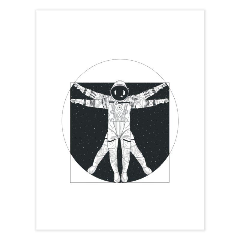 Vitruvian Spaceman (Dark Ink) Home Fine Art Print by 84collective