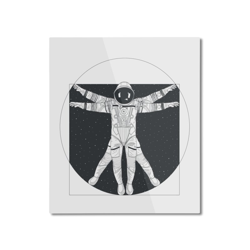 Vitruvian Spaceman (Dark Ink) Home Mounted Aluminum Print by 84collective