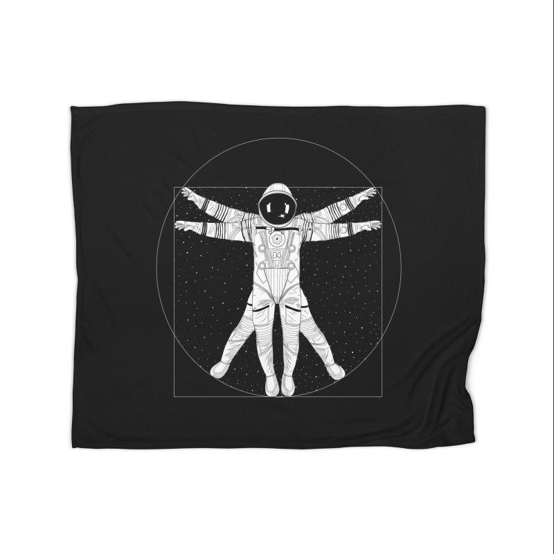 Vitruvian Spaceman (Light Ink) Home Fleece Blanket Blanket by 84collective