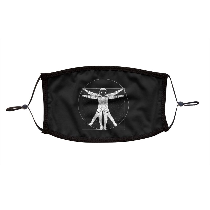 Vitruvian Spaceman (Light Ink) Accessories Face Mask by 84collective
