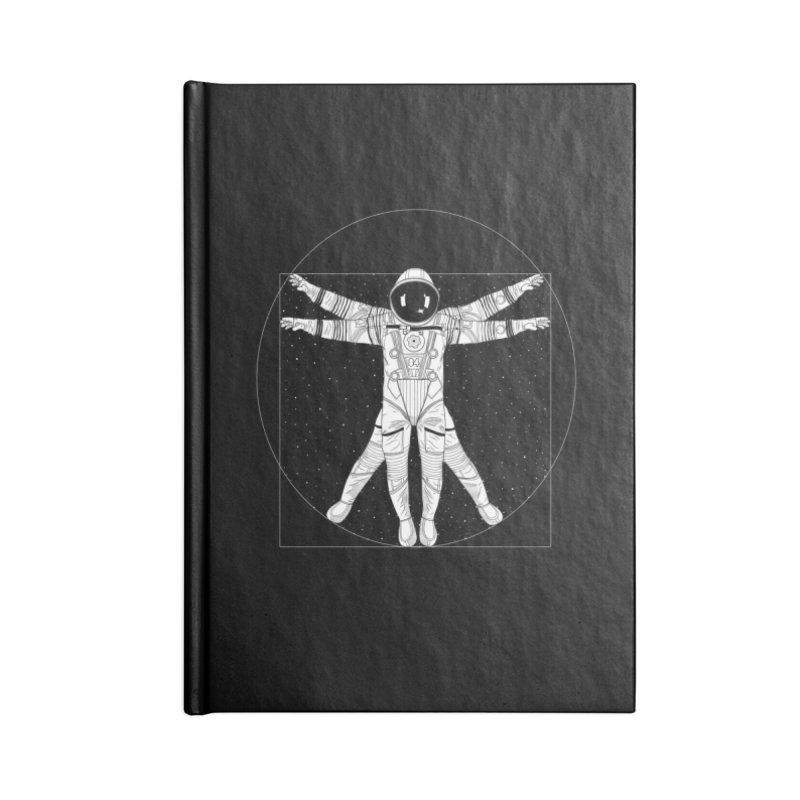 Vitruvian Spaceman (Light Ink) Accessories Lined Journal Notebook by 84collective