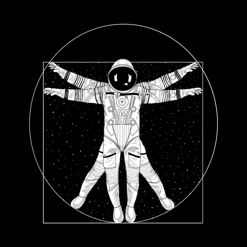Vitruvian Spaceman (Light Ink) Women's Zip-Up Hoody by 84collective