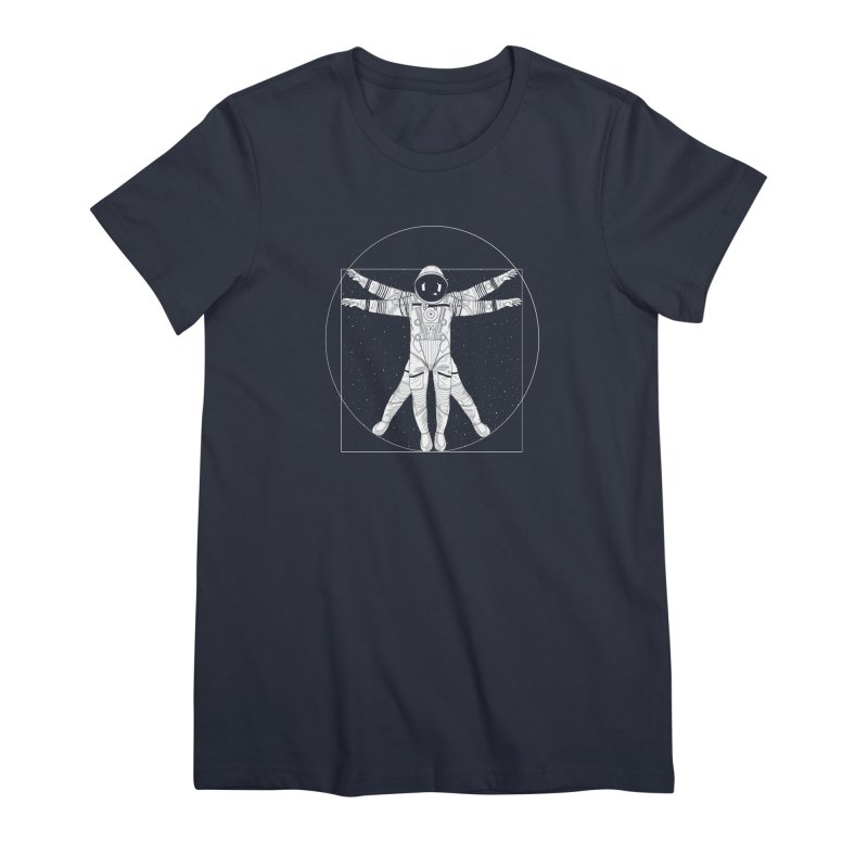 Vitruvian Spaceman (Light Ink) Women's Premium T-Shirt by 84collective