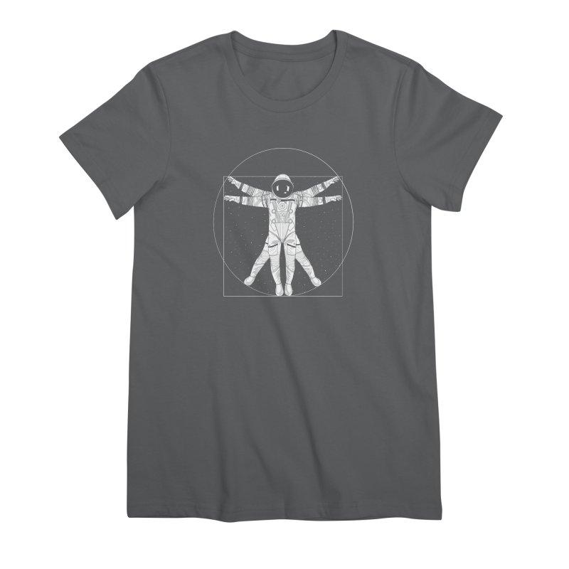 Vitruvian Spaceman (Light Ink) Women's Premium T-Shirt by 84collective