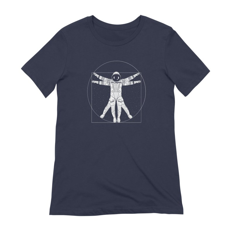 Vitruvian Spaceman (Light Ink) Women's Extra Soft T-Shirt by 84collective