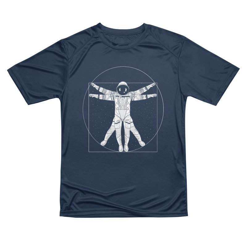Vitruvian Spaceman (Light Ink) Women's Performance Unisex T-Shirt by 84collective