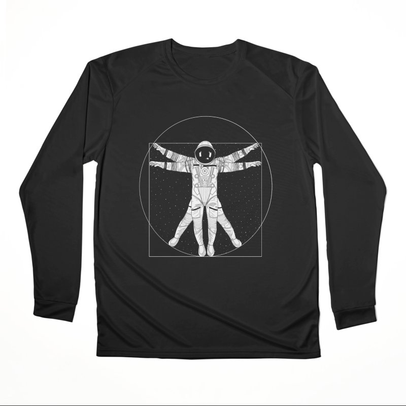 Vitruvian Spaceman (Light Ink) Men's Performance Longsleeve T-Shirt by 84collective