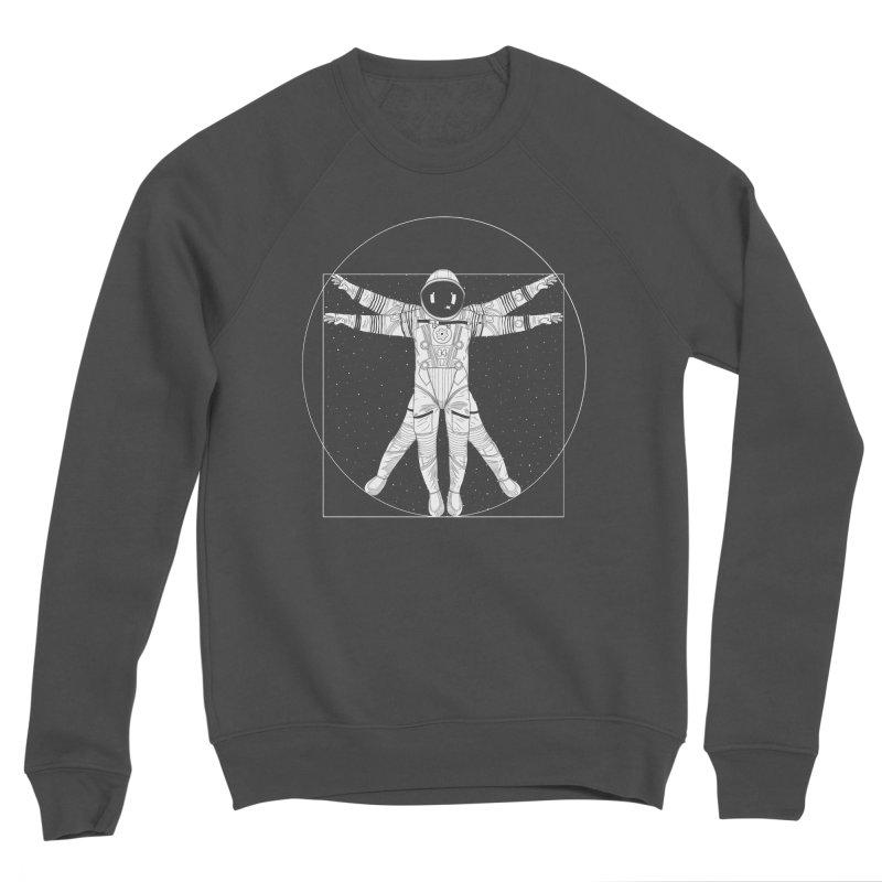 Vitruvian Spaceman (Light Ink) Men's Sponge Fleece Sweatshirt by 84collective