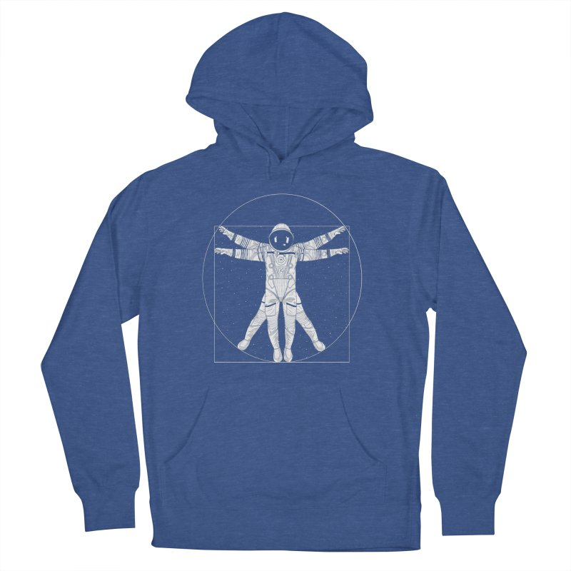 Vitruvian Spaceman (Light Ink) Women's French Terry Pullover Hoody by 84collective