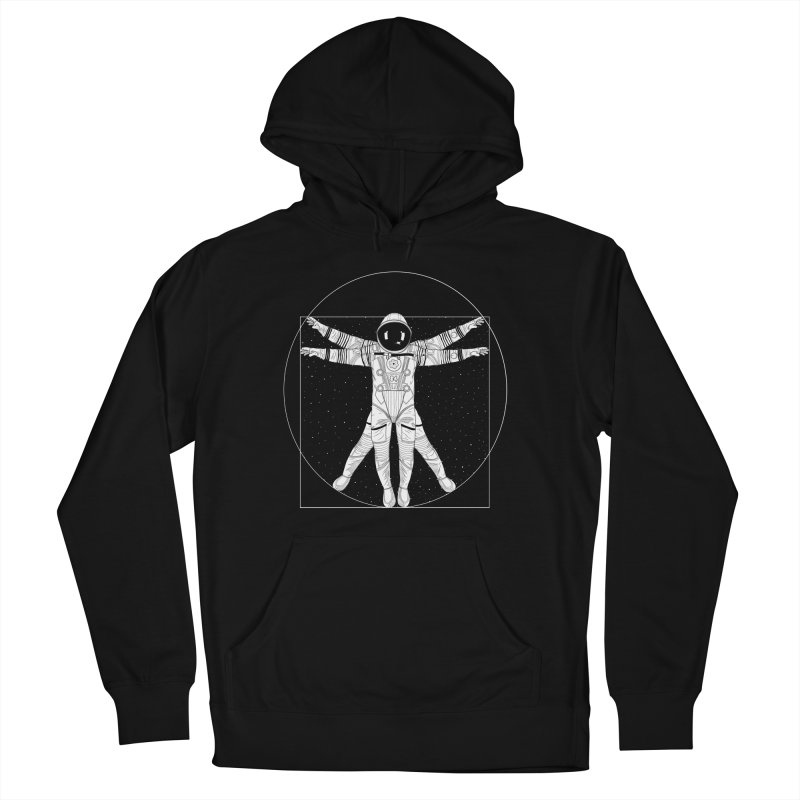 Vitruvian Spaceman (Light Ink) Men's French Terry Pullover Hoody by 84collective