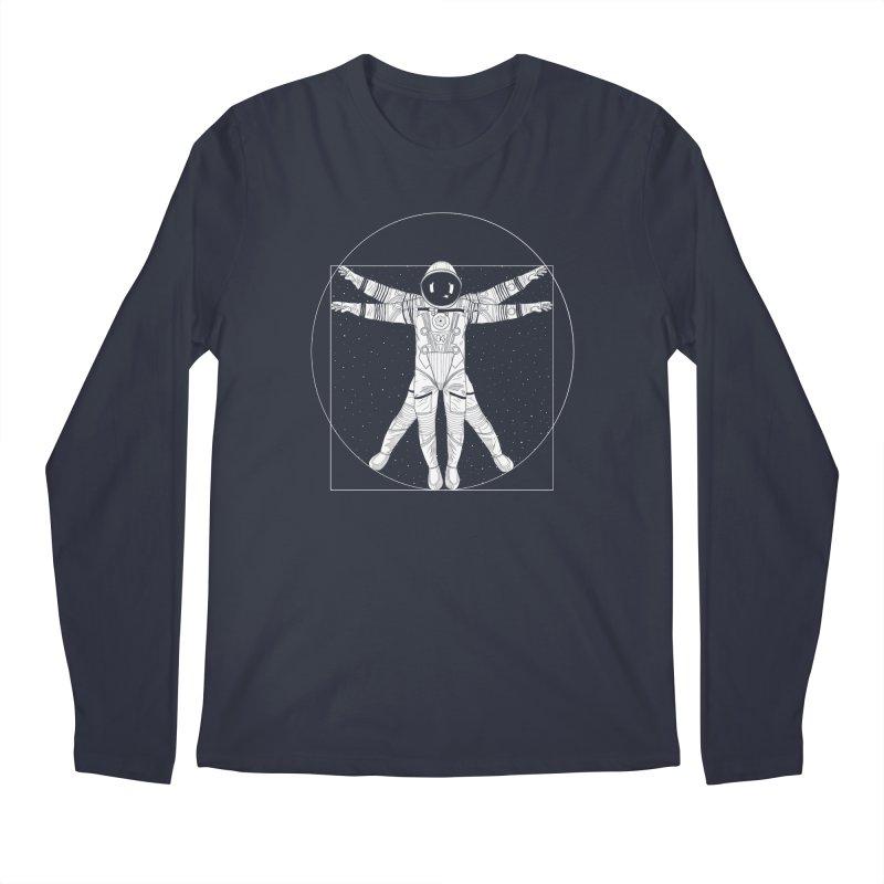 Vitruvian Spaceman (Light Ink) Men's Longsleeve T-Shirt by 84collective