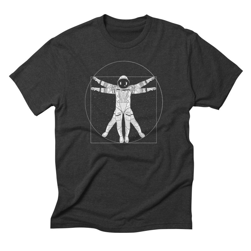 Vitruvian Spaceman (Light Ink) Men's Triblend T-Shirt by 84collective