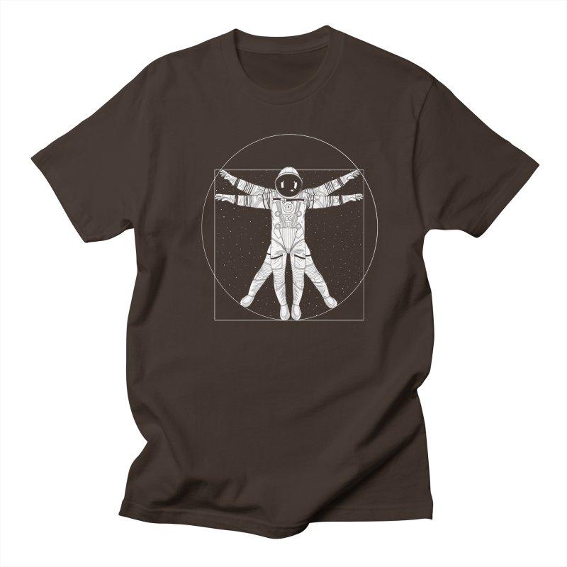 Vitruvian Spaceman (Light Ink) Men's Regular T-Shirt by 84collective
