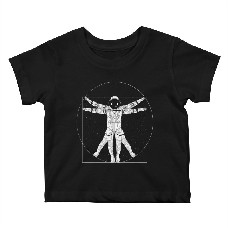 Vitruvian Spaceman (Light Ink) Kids Baby T-Shirt by 84collective