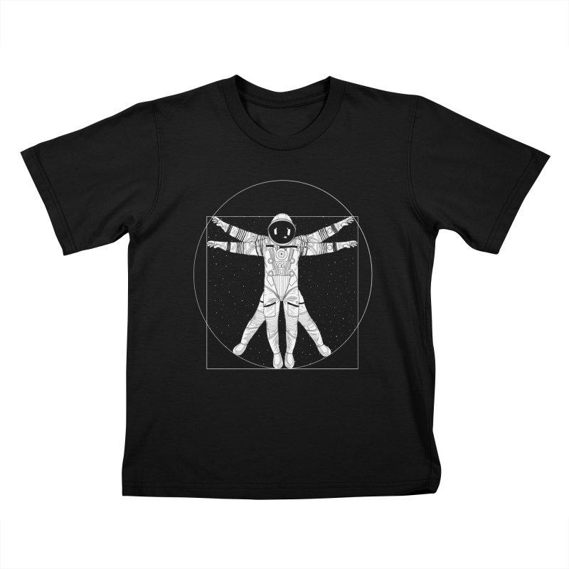 Vitruvian Spaceman (Light Ink) Kids T-Shirt by 84collective