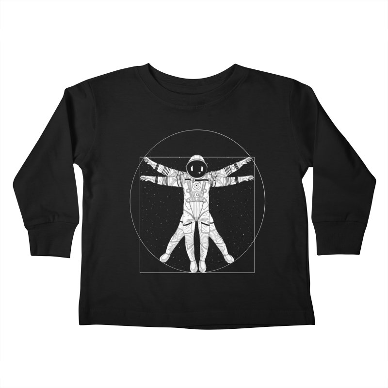 Vitruvian Spaceman (Light Ink) Kids Toddler Longsleeve T-Shirt by 84collective