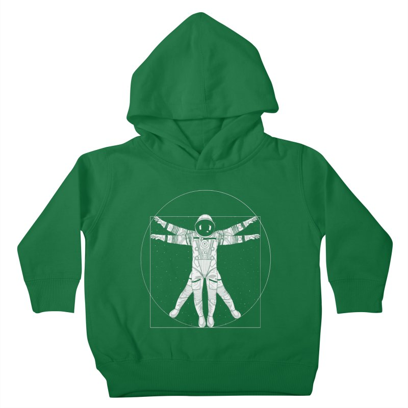 Vitruvian Spaceman (Light Ink) Kids Toddler Pullover Hoody by 84collective