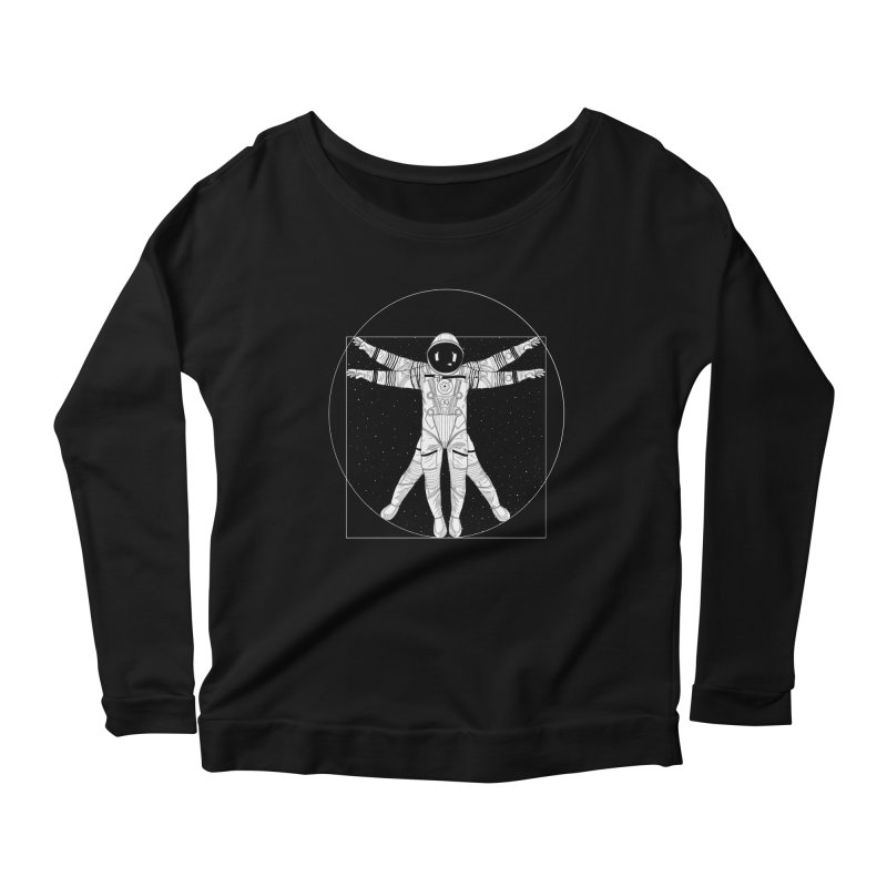 Vitruvian Spaceman (Light Ink) Women's Scoop Neck Longsleeve T-Shirt by 84collective