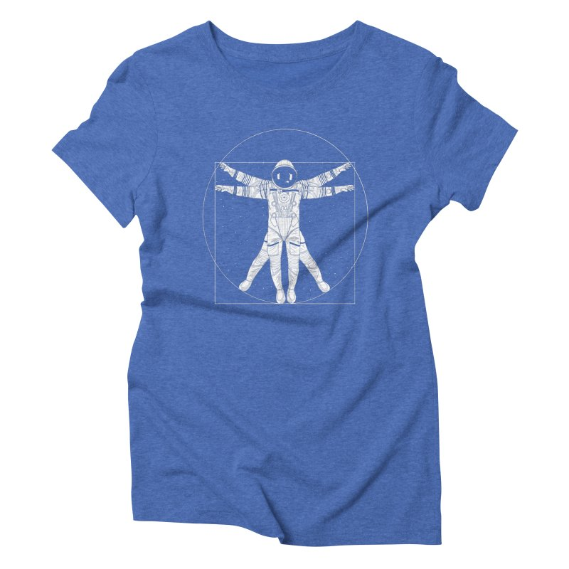 Vitruvian Spaceman (Light Ink) Women's Triblend T-Shirt by 84collective
