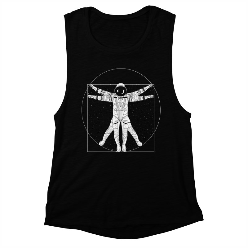 Vitruvian Spaceman (Light Ink) Women's Muscle Tank by 84collective