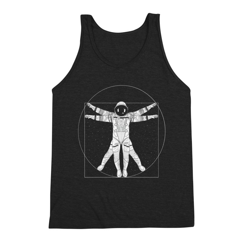 Vitruvian Spaceman (Light Ink) Men's Triblend Tank by 84collective
