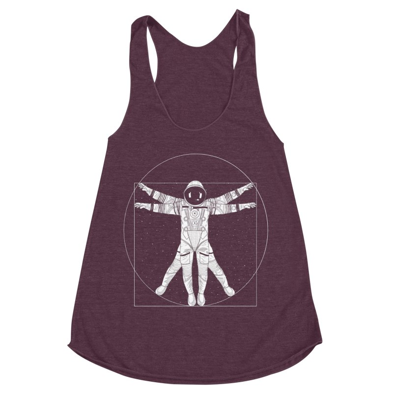 Vitruvian Spaceman (Light Ink) Women's Racerback Triblend Tank by 84collective